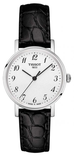 Tissot Womens Everytime Black Strap Silver Dial Arabic Numerals T1092101603200