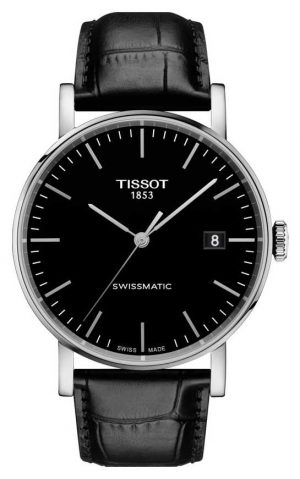 Tissot Mens Everytime Swissmatic Black Dial Black Leather Strap T1094071605100