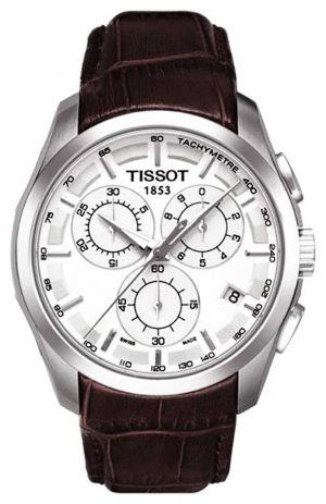 Tissot Mens Coutourier Chronograph White Dial Brown Leather Strap T0356171603100