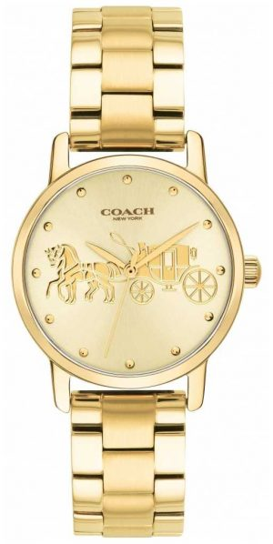Coach Womens Grand Gold Case & Bracelet Watch 14502976