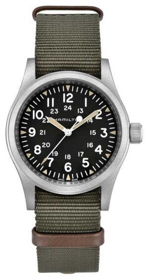 Hamilton Khaki Field Mechanical Nylon Green Strap 80h Power Reserve H69439931