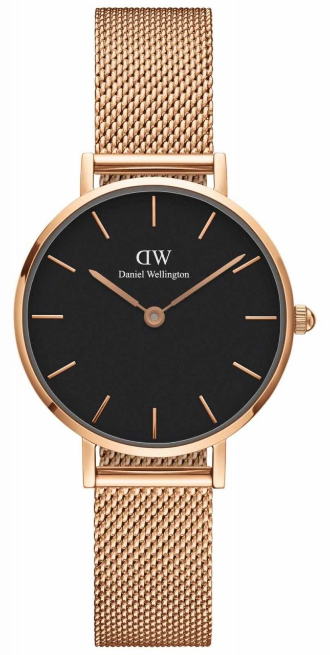 Daniel Wellington Womens Petite 28mm Melrose Rose Gold Black DW00100217