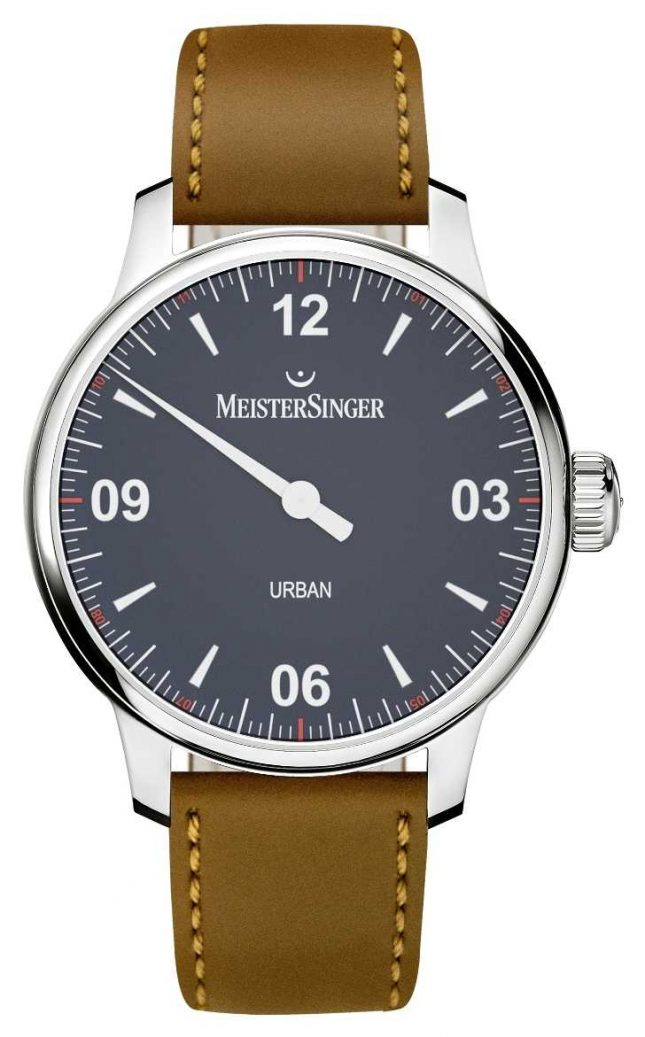 MeisterSinger Urban Blue Brown Leather Strap UR908
