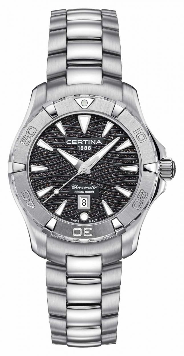 Certina Womens Ds Action 300m Watch Stainless Steel Bracelet Black Dial C0322511105109
