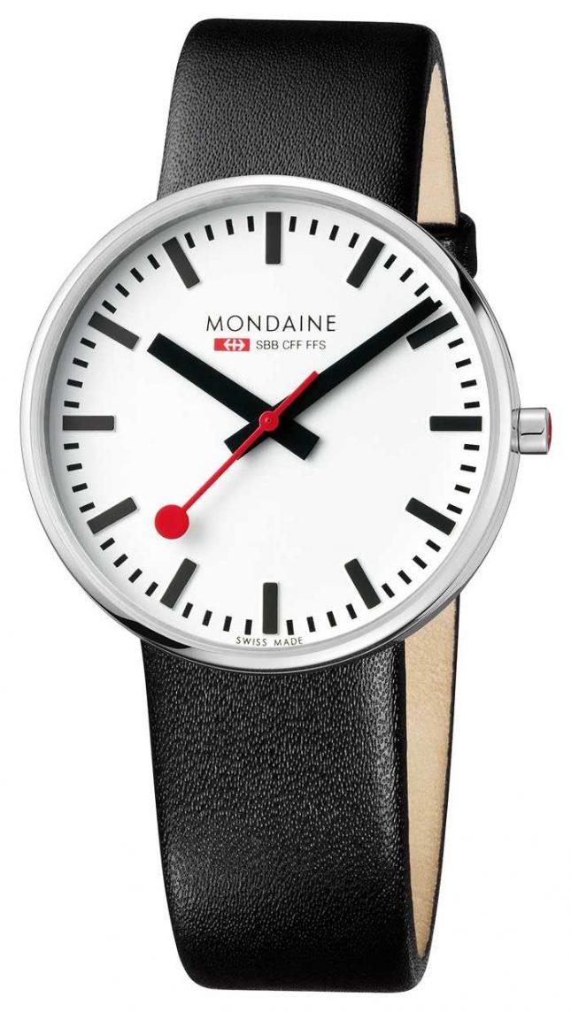 Mondaine Giant BackLight Black Leather Strap White Dial MSX.4211B.LB