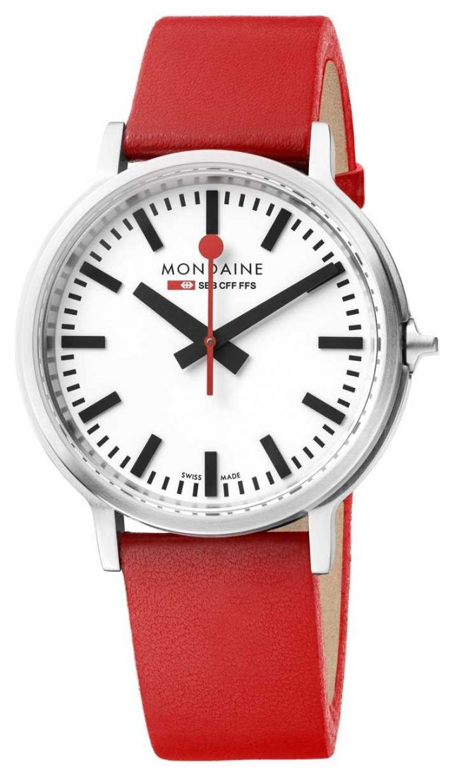 Mondaine Stop2go BackLight Red Leather Strap White Dial MST.4101B.LC