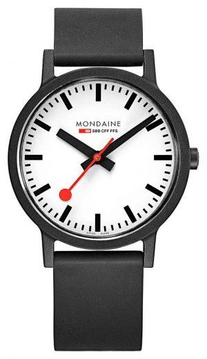 Mondaine Essence Quartz Black Natural Rubber Strap White Dial MS1.41110.RB