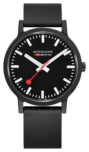 Mondaine Essence Quartz Black Natural Rubber Strap Black Dial MS1.41120.RB