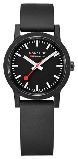 Mondaine Essence Quartz Black Dial Black Natural Rubber Strap MS1.32120.RB