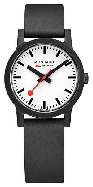Mondaine Essence Quartz Black Natural Rubber Strap MS1.32110.RB
