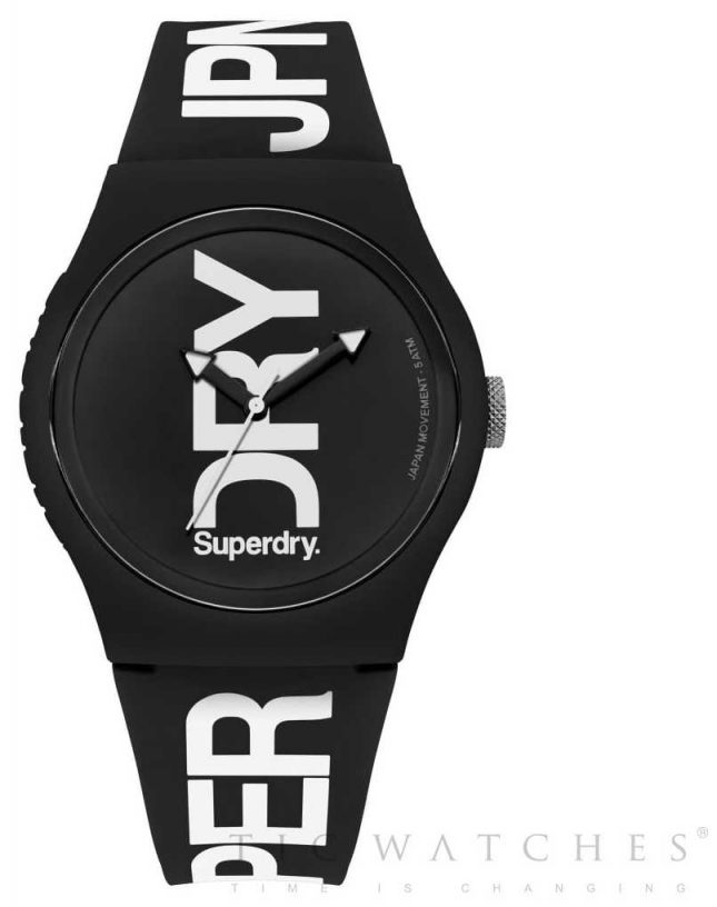 Superdry Black Dial Black Silicone Strap SYG189BW