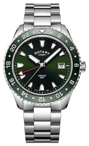 Rotary Men's Henley Green Stainless Steel Quartz Watch GB05108/24