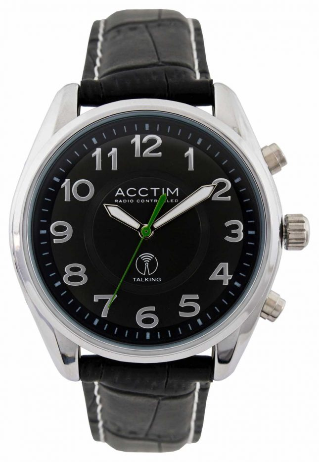 Acctim Mens Highclere Radio Controlled Talking Black Leather Watch 60353