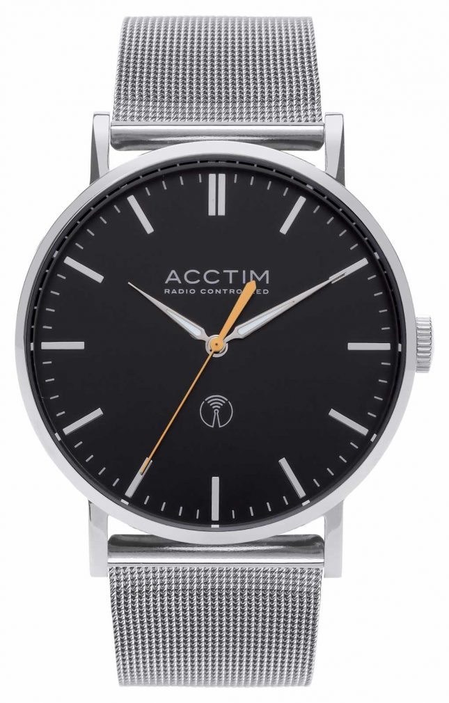 Acctim Mens Sterling Radio Controlled Stainless Steel Mesh Watch 60426