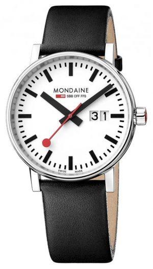 Mondaine Unisex Evo 2 Date Leather Strap Watch MSE.40210.LB