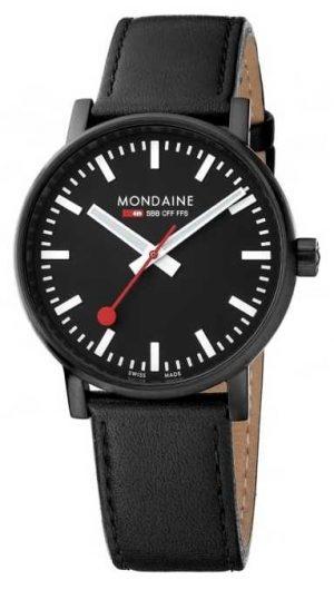 Mondaine Evo2 40mm Sapphire Crystal Black Leather Strap Black Dial MSE.40121.LB