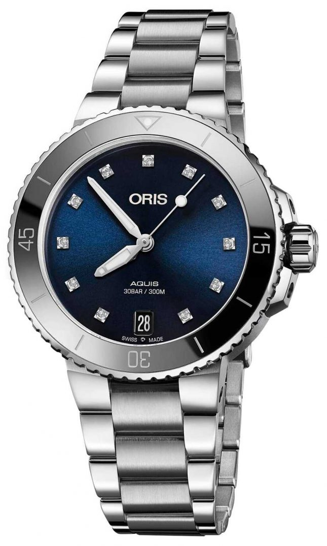 ORIS Womens Aquis Diamond Set Steel Watch 01 733 7731 4195-07 8 18 05P