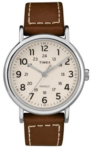 Timex Mens Weekender Brown Leather Strap White Dial TW2R42400