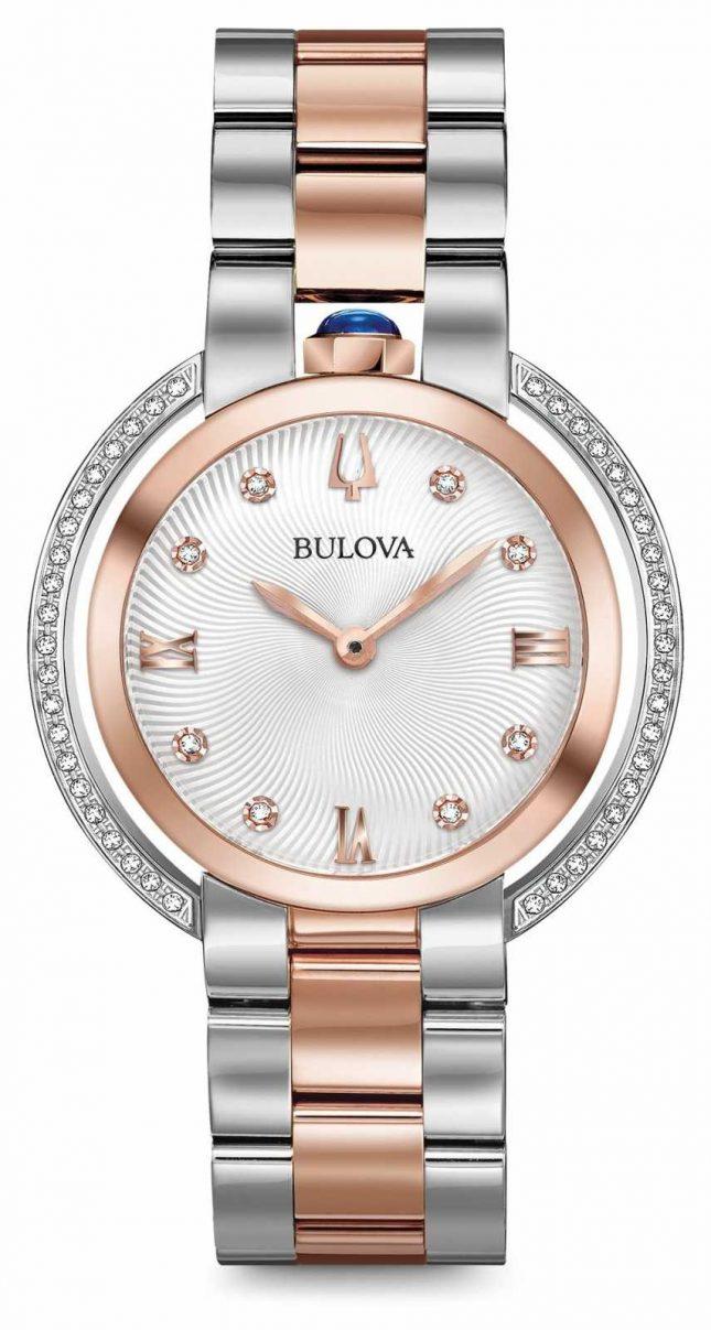Bulova Womans Rubaiyat Two Tone Diamond Watch 98R247