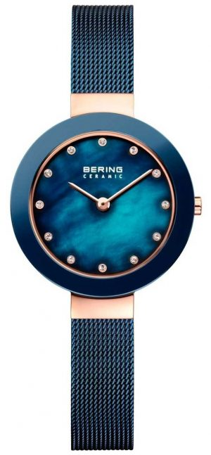 Bering Womans Ceramic Blue Milanese Strap 11429-367