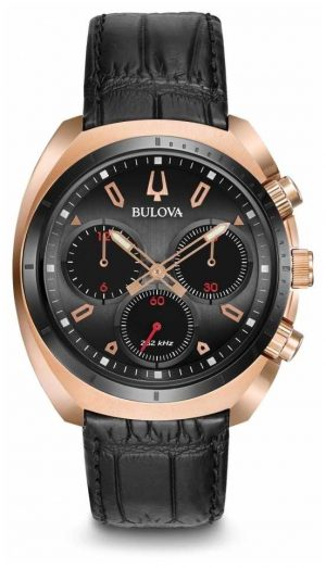 Bulova Mens Sport Curv Chronograph Black Leather 98A156