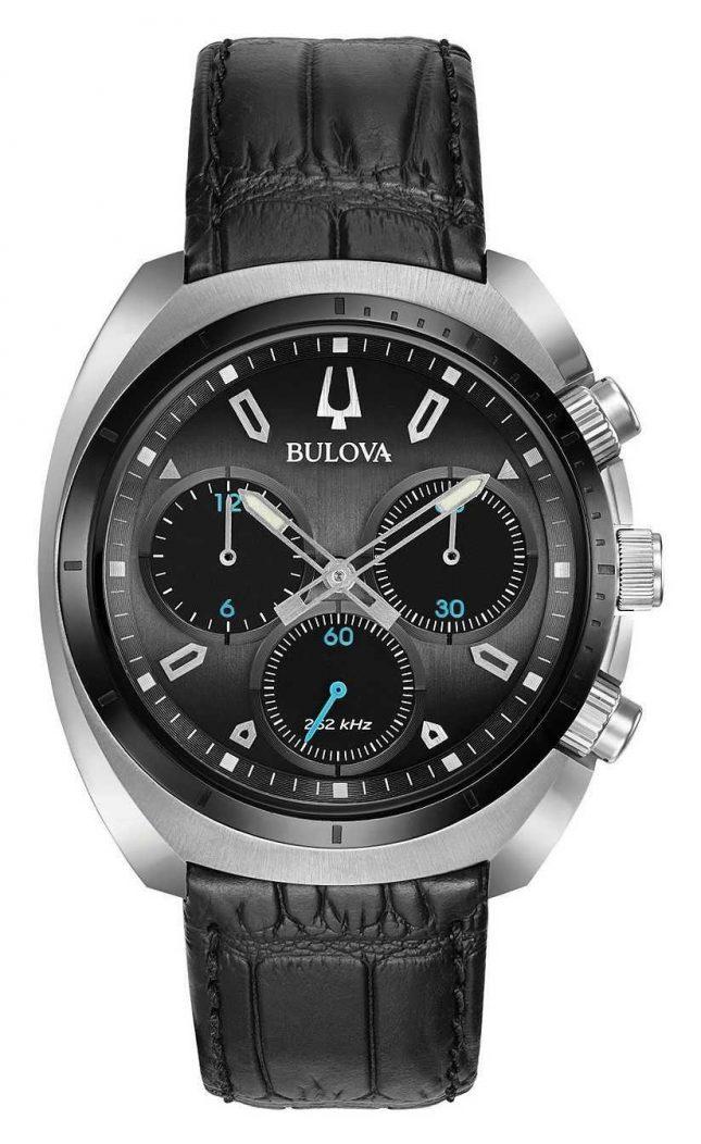 Bulova | Curv | Mens | Chronograph | Black Leather Strap | 98A155