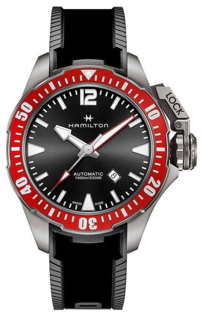 Hamilton Khaki Navy Frogman 1000m Titanium Auto Black Rubber H77805335