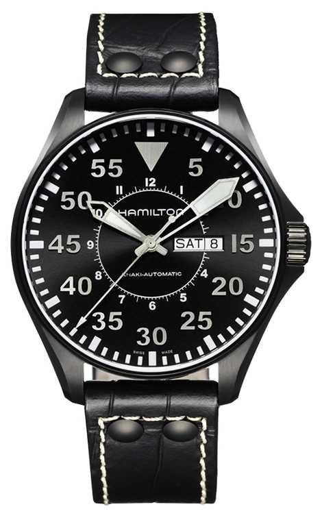 Hamilton Khaki Pilot Auto Black Leather H64785835