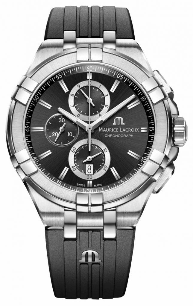 Maurice Lacroix Men's Aikon Chronograph Watch Black Rubber Strap AI1018-SS001-330-2