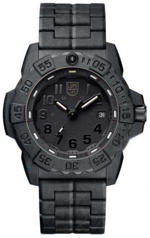 Luminox Mens Navy Seal 3500 Black Out Carbon Bracelet XS.3502.BO