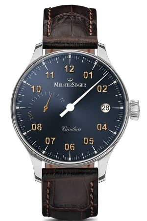 MeisterSinger Men's Circularis Power Reserve Hand Wound Sunburst Steel Grey CCP317G
