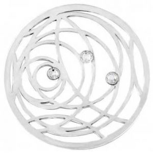 """MY iMenso SWIRL CZ """" COVER INSIGNIA 24MM (925/RHOD-PLATED) 24-1266"""