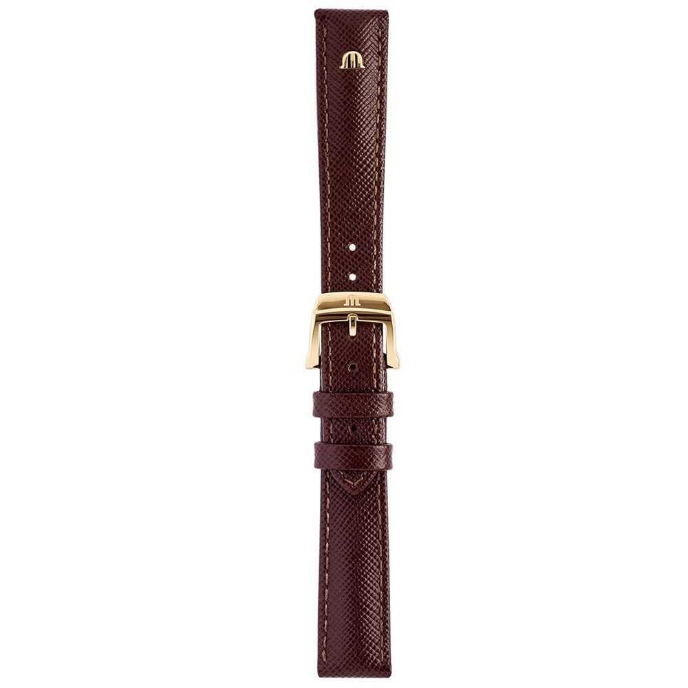 Maurice Lacroix   16mm Textured Brown Leather Strap Rose Gold Tone   With Buckle ML740-005004