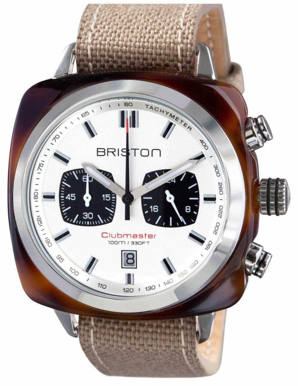 Briston Mens Clubmaster Sport Acetate Tortoise Shell Chrono White 15142.SA.TS.2.LSK