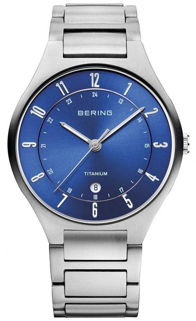 Bering Mens Titanium Grey Strap Blue Dialwatch 11739-707