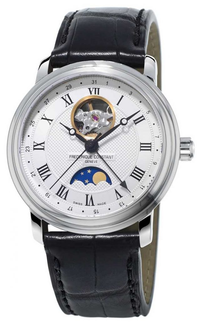 Frederique Constant Mens Classic Moonphase Heart Beat Leather FC-335MC4P6