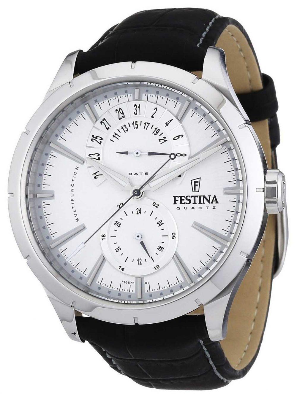 Festina Mens Black Leather Strap White F16573/1