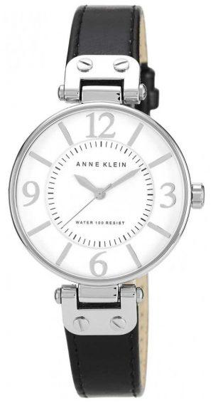 Anne Klein Womens Black Leather Strap White Dial 10/N9169WTBK