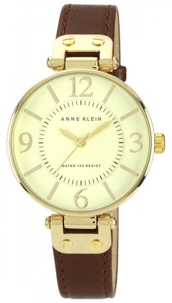 Anne Klein Womens Brown Leather Strap Gold Dial 10/N9168IVBN