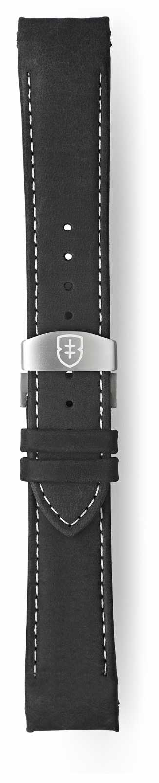 Elliot Brown Mens 22mm Black Matt Leather Deployant White Stitch Strap STR-L15