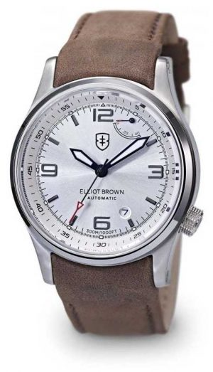Elliot Brown Mens Tyneham Brown Leather Silver Dial Display Caseback 305-D03-L12