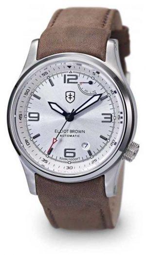 Elliot Brown Men's Tyneham Brown Leather Silver Dial Display Caseback 305-D03-L12