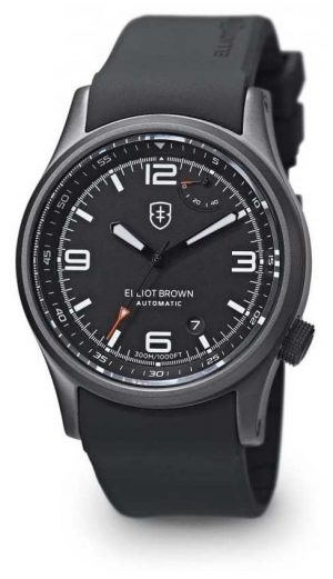 Elliot Brown Men's Tyneham Black Rubber Strap Black Dial Display Caseback 305-D01-R06