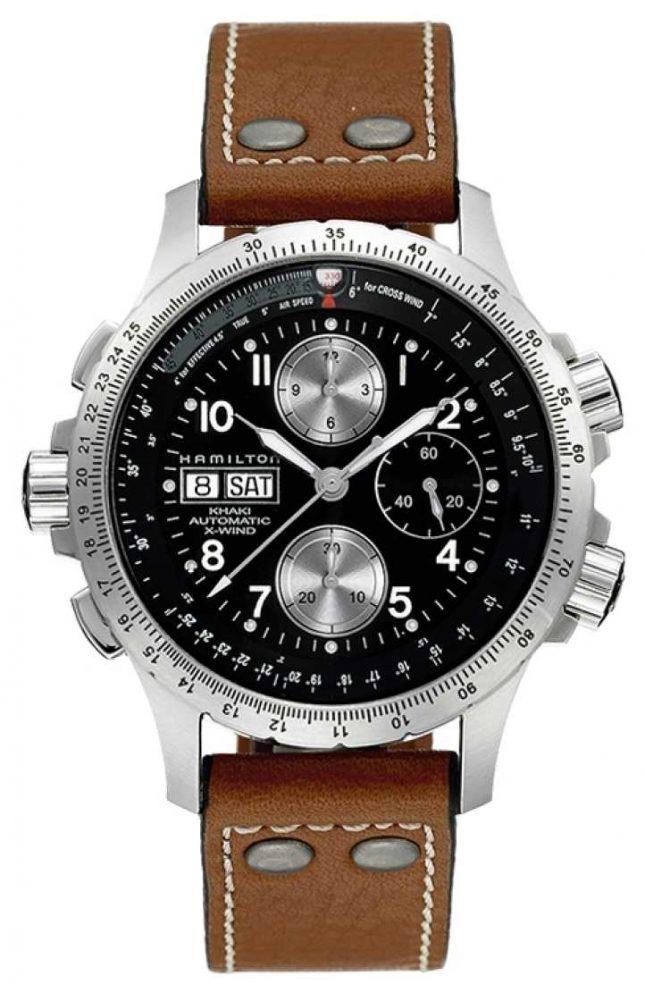 Hamilton Mens Khaki X Wind Brown Leather Strap Black Dial H77616533