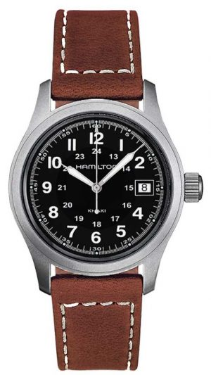 Hamilton Mens Khaki Field Quartz Brown Strap Black Dial 38mm H68411533