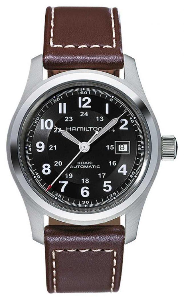 Hamilton Mens Khaki Field Auto 42mm Black Dial Brown Leather Strap H70555533