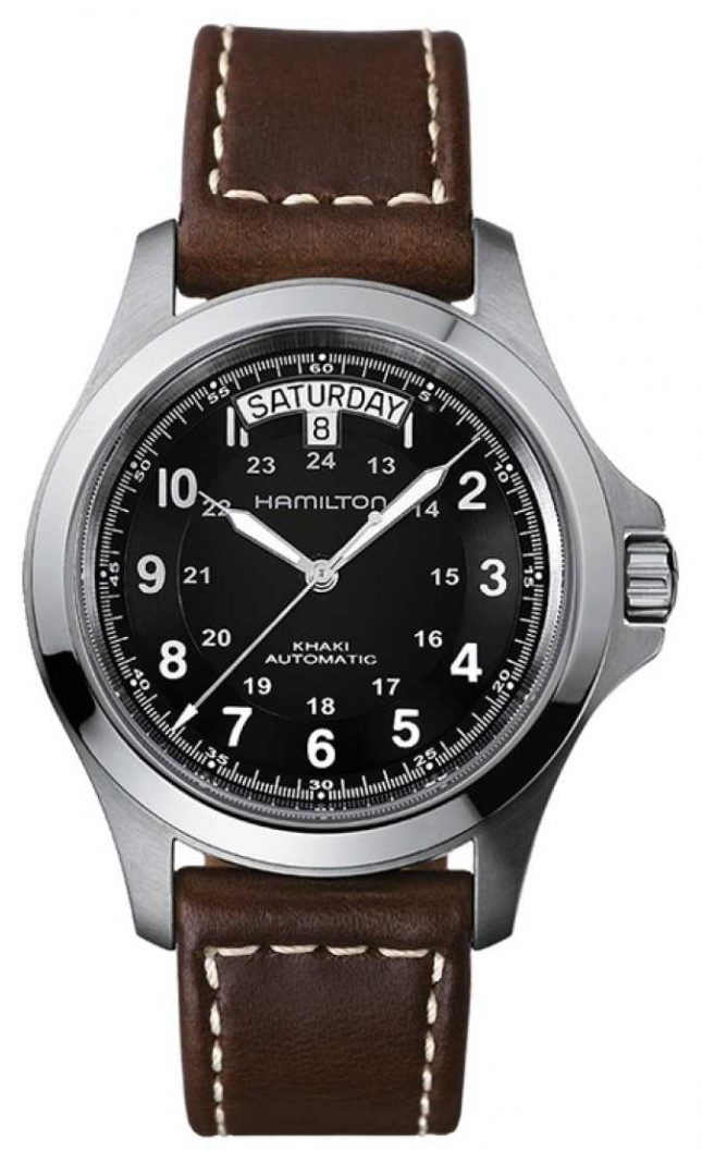 Hamilton Mens Khaki Field King Auto Brown Leather Strap H64455533