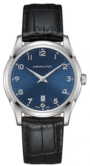 Hamilton Mens Jazzmaster Thinline Blue Dial Black Leather Strap H38511743