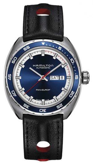 Hamilton Mens Pan Europ Black Leather Strap Blue Dial H35405741