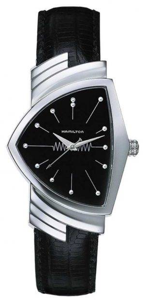 Hamilton Mens Ventura Quartz Black Leather Strap Black Dial H24411732